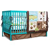 Spring Baby Crib Bedding Set 6 Piece Nursery Crib Bedding Set for Baby Boys and Girls, Including Comforter, Bumpers, Crib Sheet(Brown/Beige/Green-Jungle Animals-6 Piece)