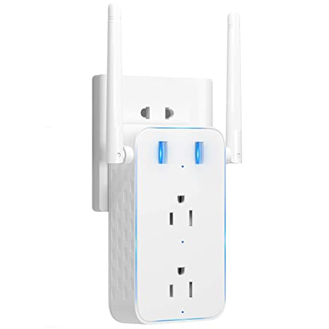 Smart Plug, 2 in 1 WiFi Range Extender/WiFi Smart Socket Outlet  Multi-function with USB Charging Ports Wifi Repeater Combination Enabled  Remote