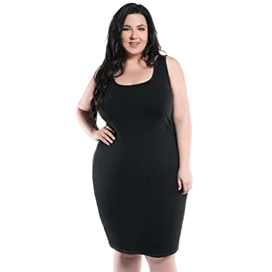 Astra Signature Womens Plus Size Scoop Neck Fitted Stretch Cary