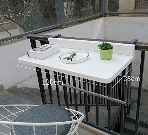 Balcon colgante Tabla, Plegable Ajustable Barandilla lateral Mesa de comedor Adecuado para la mayoria Baranda Patio (2 tamanos),Blanco,120 * 28cm