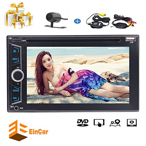 Eincar Double 2 Din 6.2 Inch Touchscreen Car DVD CD Stereo Built-In Bluetooth In-Dash Head Unit Car Audio Raio GPS Navigation System USB/TF/AUX IN Remote Control Subwoofer & Free Wireless Rear Ca