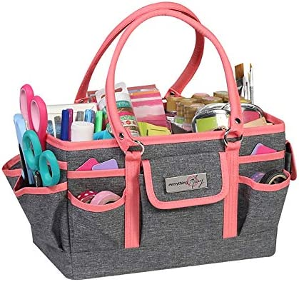 Everything Mary Coral Heather Deluxe Store and Tote – Storage Art Caddy for Sewing & Scrapbooking – Craft Bag Organizer w/Handle for Supplies & Tools Organization for School, Medical, Office