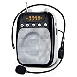 Voice Amplifier Yoceweca YW358 Voice Changer 10W Rechargeable Portable Amplifier with FM Radio, Hi-Fi Sound Perfect Personal Microphone for Teachers, Fitness Instructors - Black & White