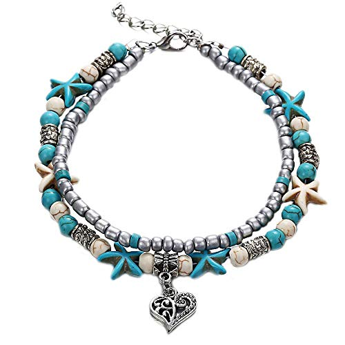 Double Leather Anklet - Onefeart Base Metal Anklet for Women Bohemian Style Sea Beach Design Double-Layered Heart Starfish Shape 29.5CM Heart