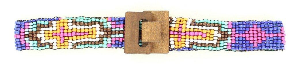 Nocona Girl's Stretch Beaded Cross Design Belt, Purple, S/M