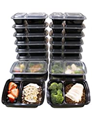 [20 Pack] 32 Oz. 2 Compartment Food Containers Durable BPA Free Plastic Reusable Food Storage Container Microwave & Dishwasher Safe w/ Airtight Lid For Portion Control & 21 Day Fix