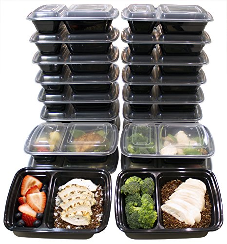 20 Pack 32 Oz 2 Compartment Meal Prep Containers Durable BPA Free