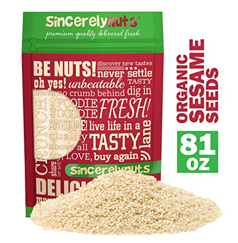 Sincerely Nuts Hulled Organic Sesame Seeds (5 lb Bag)- Natures Super Seed   Rich Flavor Profile Perfect for Cooking   Raw, Gluten Free, Vegan & Kosher   All Natural Plant Based Protein & Healthy Fats