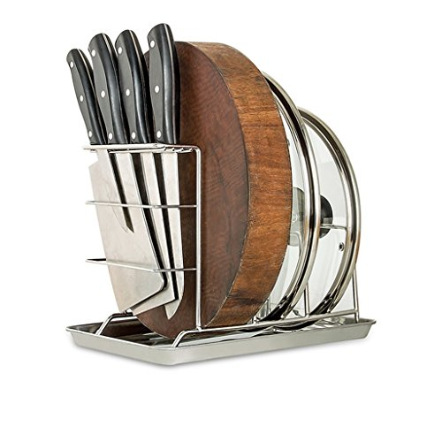 3 Compartments Cutting Board Holder Knife Block Kitchen Orga