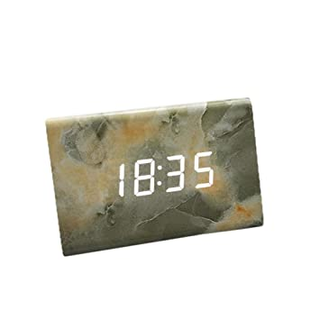 Led Wooden Clock Mable Digital Alarm Clocks for Bedroom with ...
