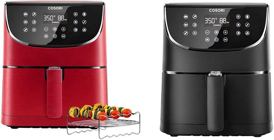 COSORI (100 Recipes, Rack & 4 Skewers) 1500W Hot Air Fryers Oven Oilless Cooker, Digital-Burgundy Red & Air Fryer Max XL(100 Recipes) Hot Oven Oilless Cooker LED Touch Screen 5.8 QT, DIGITAL-Black