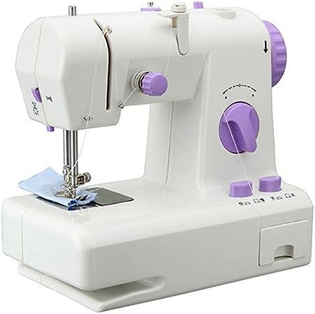 Máquina de coser eléctrica doméstica pequeña costura Máquina de coser portátil, 12 puntos de sutura 2 Speed Heavy ...