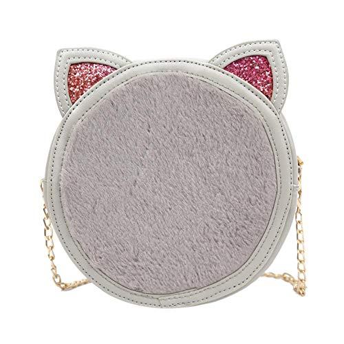 Messenger Messenger Glossy pelle Ear Grey donna Bag da Akaddy in Cat F1lJKTc