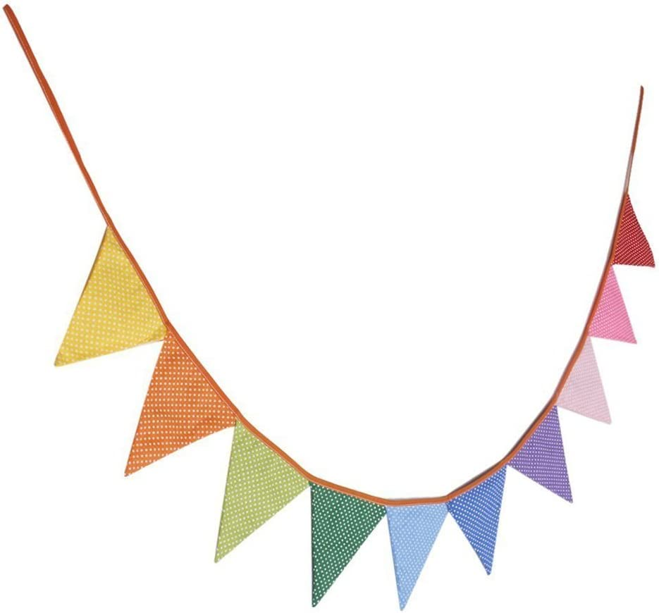 2.3m Long Material Cotton Pennant Flag Banner Multi Coloured Bunting Party PICK