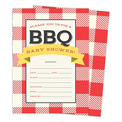 BBQ 2 Cookout Baby Shower Invitations Invite Cards