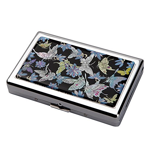 - Mother of Pearl Blue Butterfly Flower Design Extra Long 100S Super Slim King Size 16 Cigarette Engraved Metal Steel RFID Blocking Protection Credit Business Card US Bill Cash Holder Case Storage Box