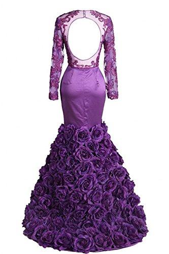 Donna Bridal Senza linea Vestito Mall ad Viola maniche a qg0Fq
