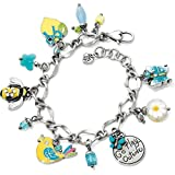 Brighton Natural Walk Bee Flower Lemon Bird Crystal Silver Charm Bracelet