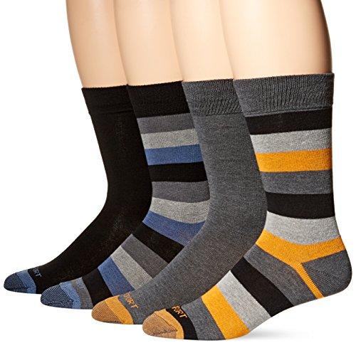 Rockport Men's Solid Striped Crew Sock, Black/Charcoal, Sock Size:10-13/Shoe Size: 6-12