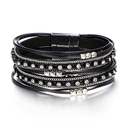FINETOO Black Wrap Multilayer Leather Bead Bracelets Rhinestone Boho Crystal Braided Rope Bracelet with Magnetic Clasps Girls ()