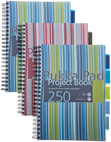 Pukka Pad A5 Twin Wire Casebound Project Book 3 Dividers 250 Pages CBPROBA5 Blue