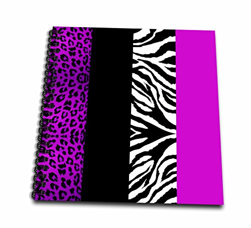 Black White Animal Drawings (3dRose db_35434_1 Purple Black and White Animal Print-Leopard and Zebra-Drawing Book, 8 by 8