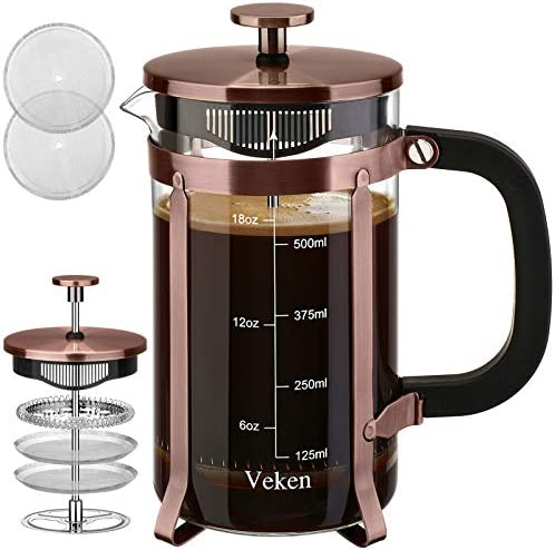 Veken French Press Coffee Maker (21 ounces), 304 Stainless Steel Coffee Press with 4 Filter Screens, Durable Easy Clean Heat Resistant Borosilicate Glass - 100% BPA Free, Copper…