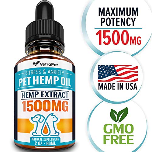 VetraPet Hemp Oil Dogs Cats - Full Spectrum Hemp Extract 250mg - Grown & cbd in USA - All Natural Pain Relief Dogs, Stress & Anxiety Support, Calming, Hip & Joint Health - Easily Apply to