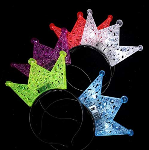 - 5pcs LED Light Up Crown Headbands Glowing Tiara Hairband Hair Hoop Hairband Hair Accessories for Party and Daily Decoration