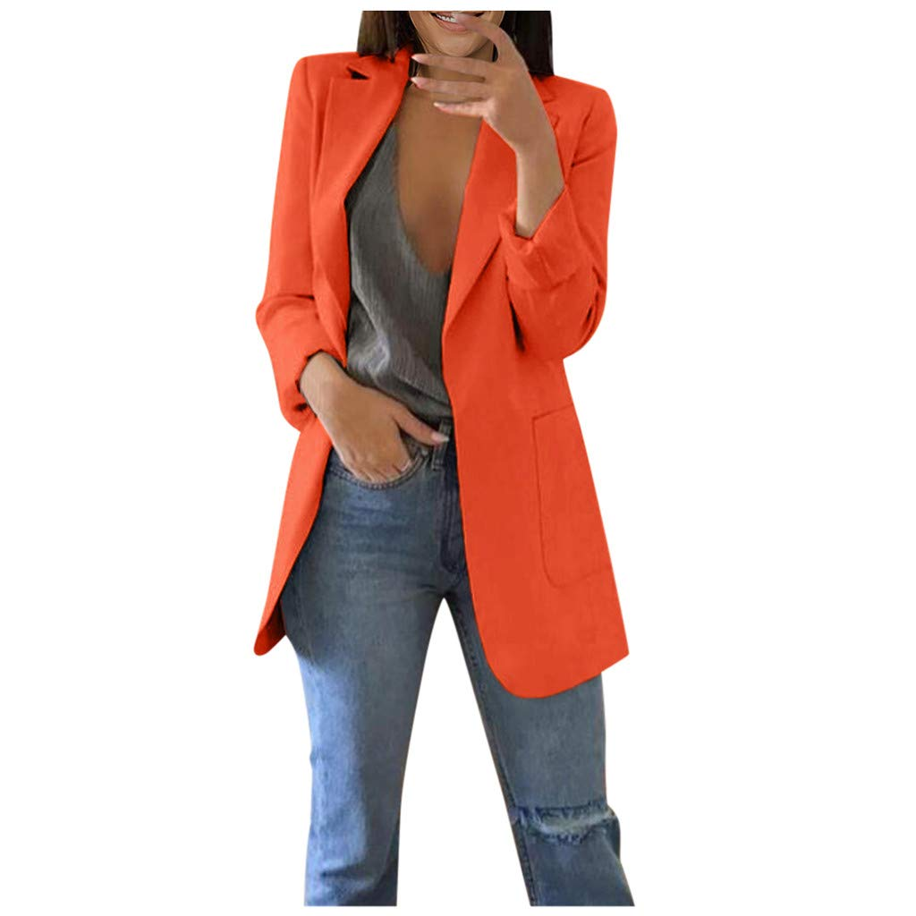 LUKALUKADA Women Autumn Winter Solid Turn-Down Collar Pocket Office Suit Long Sleeve Cardigans Long Coat Orange by LUKALUKADA
