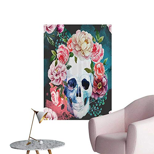 (Wall Decoration Wall Stickers Flowers and Skull Skelets All Saints Halloween Print Artwork,32