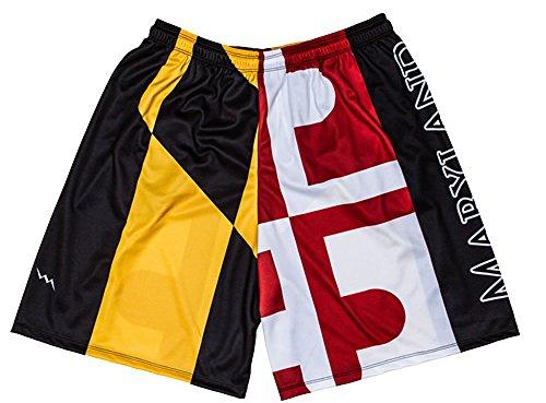 LightningWear Maryland Flag Shorts (AL) - Maryland Flag Lacrosse Shorts (Best Flag Football Routes)