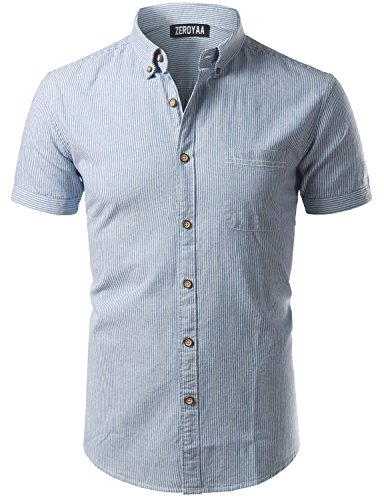 Mens Casual Pinstripe Slim Fit Short Sleeve Button Down Shirts with Pocket/ (Mens Striped Pocket)