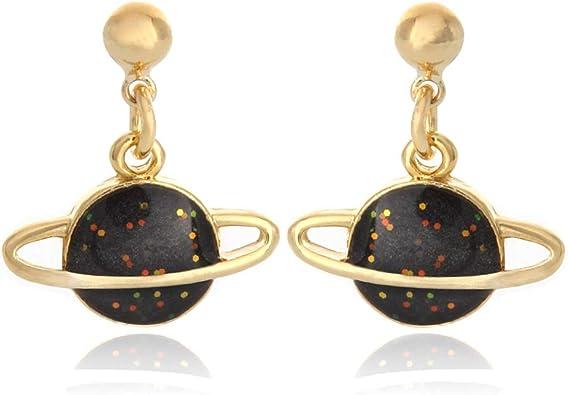 Saturn Yellow Gold Ear Stud Earrings Space Planets Ear Rings Planet Green ER39