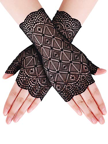Floral Lace Gloves - Skylety Sunblock Fingerless Bridal Lace Gloves Short Floral Gloves Wrist Length Wedding Dress Gloves for Prom Evening Wedding Party (Black 3)