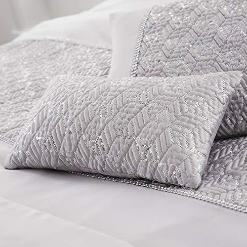 (Happy Linen Company Sequin Diamante Trim Luxury Silver Mini Cushion)