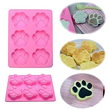 Mobile Sky-Molde para tarta o galletas para hielo o de o a chocolate o gelatina o para Flan de silicona para decoración, diseño de huellas de gato: ...
