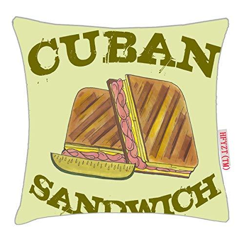NBTJZT Pressed Cuban Sandwich Ham Cheese Salami Pickle Pillow Cover Standard Throw Pillowcase 18X18 Inch (Pressed Ham)