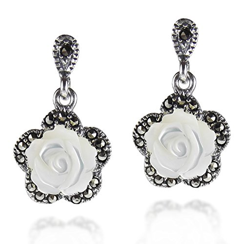 (Vintage Style Carved Rose MOP Marcasite Style .925 Sterling Silver Drop Earrings)