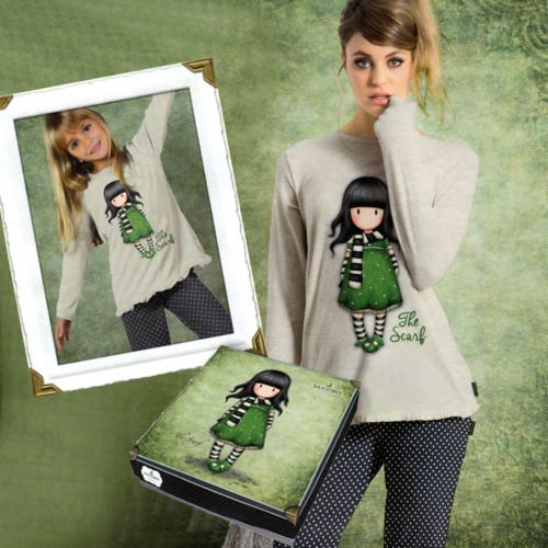 Pigiama Santoro Gorjuss The scarf , cotone jersey 2 pezzi adulta/bambina.scatola regalo