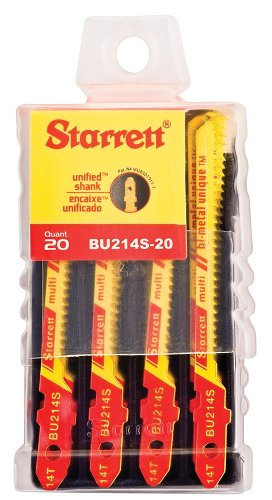 Starrett BU214S-20 Bi-Metal Unique Unified Shank Multi Purpose Wood and Metal Cutting Jig Saw Blade, Scroll Tooth, 0.040