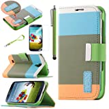 Pandamimi ULAK Colorful PU Leather Wallet Type Magnet Design Flip Case Cover for Samsung Galaxy S4 Galaxy SIV i9500 + Screen Protector + Stylus(Blue+Brown+Orange) with Auto Wake/Sleep Smart Cover Function (Not Suit for Samsung S4 Active)