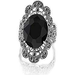 Mytys Vintage Fashion Silver Jewelry Marcasite Oval Crystal Cocktail Statement Wide Rings for Women (8)