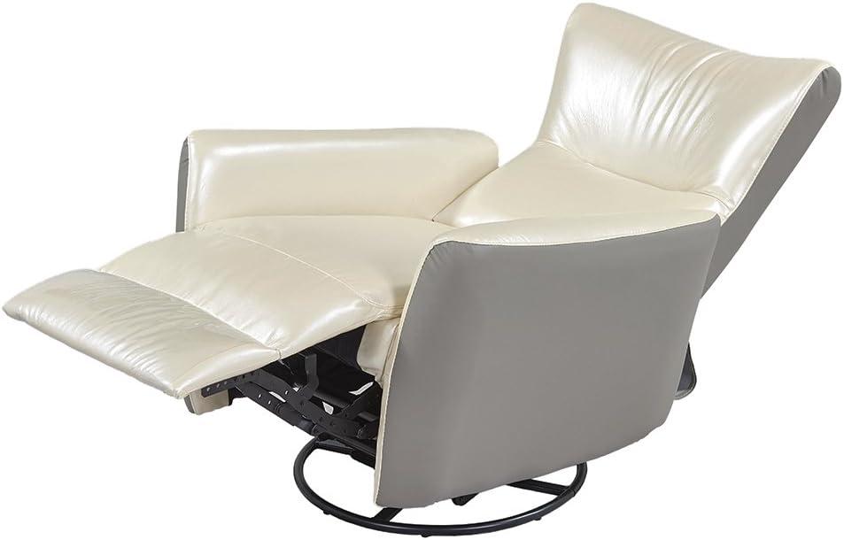 REMSOFT Swivel Nursery Rocker Glider Recliner Rocking Chair Beige Leather Sofa Seat Home Theater(Beige)