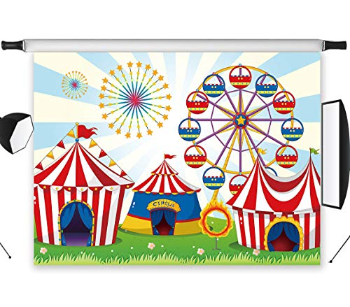 (LB Circus Carnival Party Backdrop for Photography 7x5ft Baby Kids Birthday Party Decoration Ferris Wheel Dessert Cake Table Decor Photo Background Photo Studio Prop Vinyl Customized)