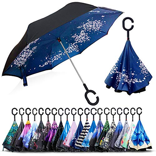 ZOMAKE Double Layer Inverted Umbrella Cars Reverse Umbrella, UV Protection Windproof Large Straight Umbrella for Car Rain Outdoor With C-Shaped Handle(Cherry Blossom)