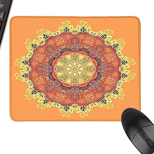 - HMdy88PT FloralPattern Leaves Kaleidoscope ArtTheme Zen Inspired Small Mouse padinch W16 x23.5 Orange Yellow Red