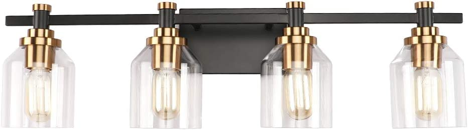 Create for Life 4-Light Bathroom Vanity Light,Industrial Wall Sconce Bathroom Lighting,Matte Black Finish, Antique Brushed Gold Copper Accent Socket,Clear Glass Shade