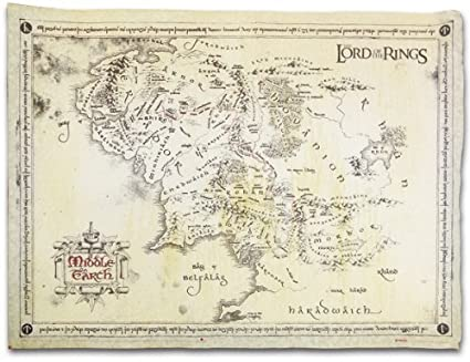 the lord of the rings vintage look parchment print movie poster map of