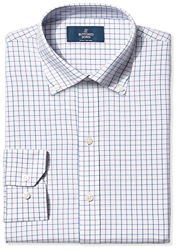 buttoned-down-mens-non-iron-fitted-button-collar-dress-shirt-grey-purple-blue-check-175-neck-36-slee
